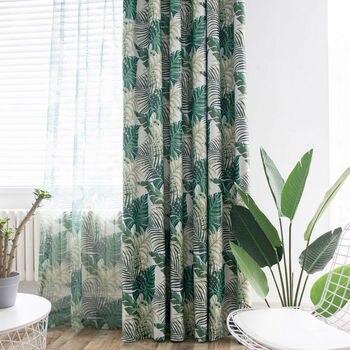 Cortinas Tropicales.Moderno Patron Tropical Impreso Cortinas Hojas De Color Verde Para