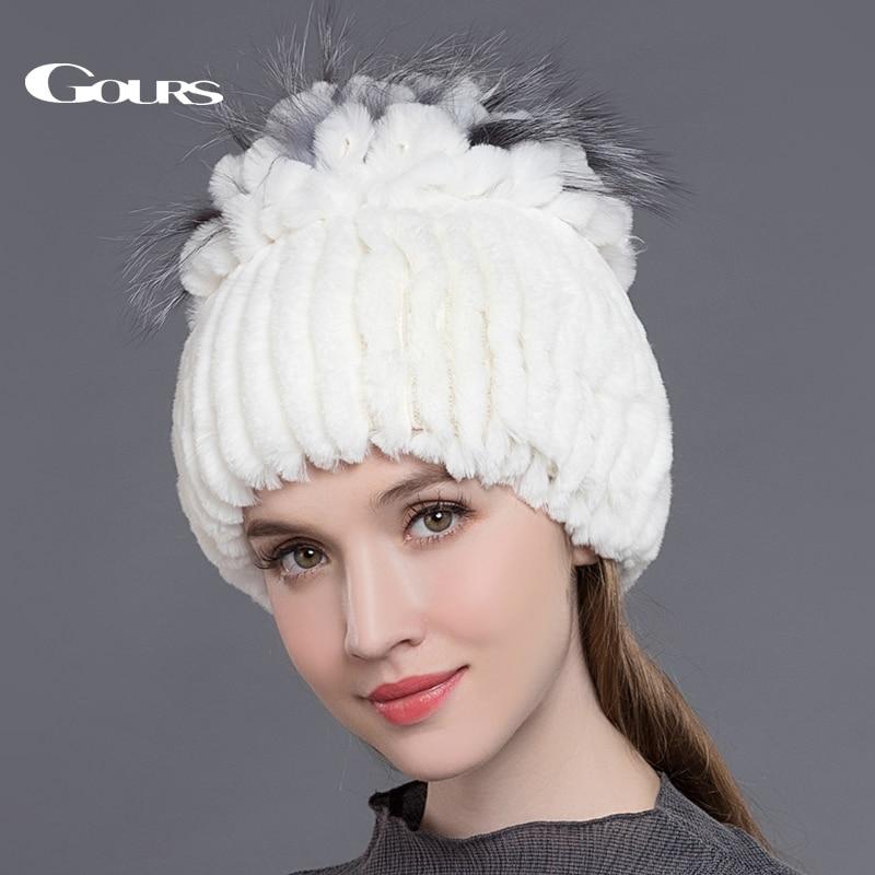 Gours Dámské kožené klobouky Natural Rex Králíky Fox Kožené čepice Zimní teplé ruské dámské módy Značka Kvalitní čalouny Nové příchody