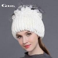 Gours Women S Fur Hats Natural Rex Rabbit Fox Fur Caps Winter Warm Russian Ladies Fashion