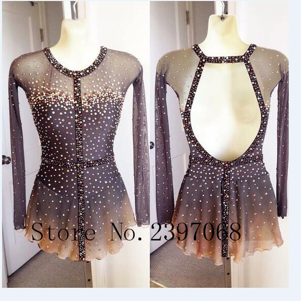 Grey Figure Skating Dress Women Competition Figure Skating Dresses Custom No Sleeves Ice ...