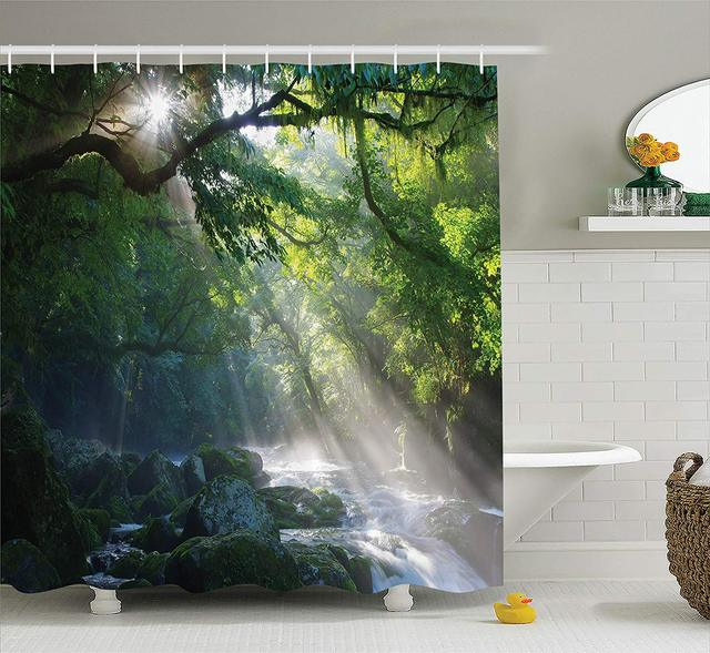 Rainforest Decor Shower Curtain Stream In The Jungle Stones Under Shadows Of Trees Sunlight Mother Earth Bathroom Accessories