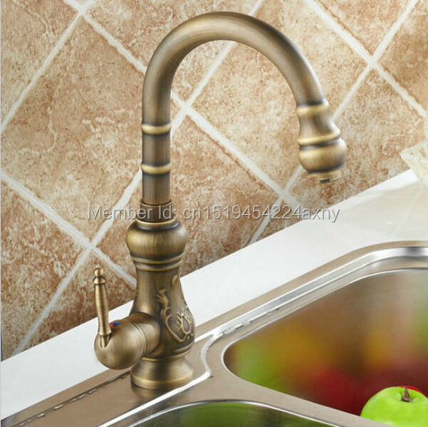 Free Shipping Antique Carving Faucet Kitchen Artistic Faucet Swivel Spout Vanity Sink Mixer Tap torneira GI29Free Shipping Antique Carving Faucet Kitchen Artistic Faucet Swivel Spout Vanity Sink Mixer Tap torneira GI29