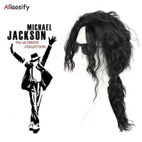 Allaosify Cosplay Michael Jackson Black Fashion Middle And Long Ccurl Wig Heat Resistant Fiber Synthetic Wig