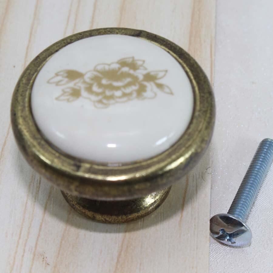 rustico pastorale ceramic / porcelain kitchen cabinet drawer knob pull vintage brass dresser cupboard handle knobs