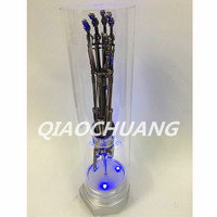 Terminator Arnold Schwarzenegger T2 1:1 Hand Bone T800 Robotic Arm LED Light Effect Electroplating Model Limited Edition W67