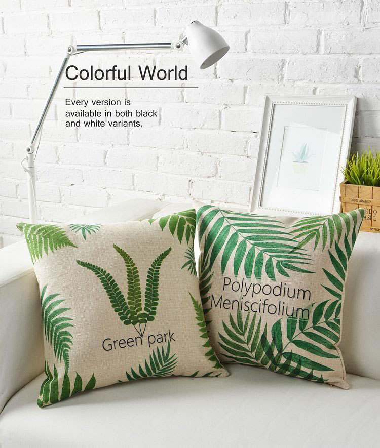 Plants Decorative New Leaves Polypodium Green Linen Pillow Cover 18 Cushion Case