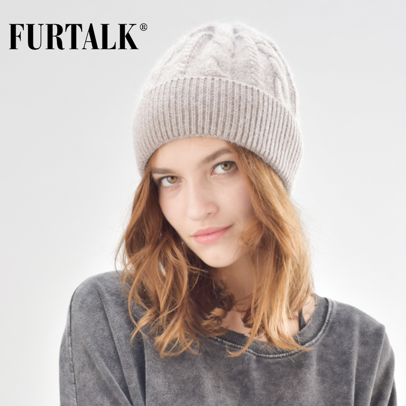 FURTALK Autumn Winter   Beanie   Women Hat Rabbit Hair Knitted Hats for Girls B006