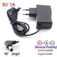 AC DC 9V 1A 1000ma Power adapter supply EU plug reverse polarity charger adaptor AC 100V-240V Converter Negative Inside switch