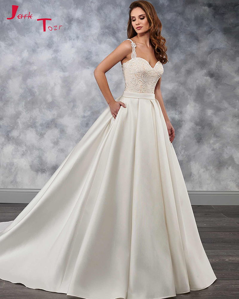 2019 New Arrive A Line Satin Wedding Dresses With