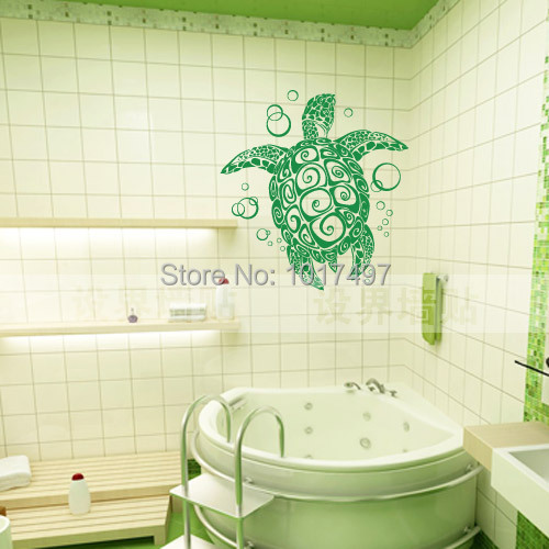 Vinyl Wall Sticker Large Sea Turtle Turtle With Bubble For Bathroom Animal Wall Art Decoration