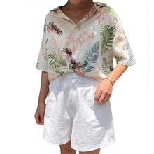 Hawaii Tribal Print Holiday Beach Shirt Style Tropical Chic Blouse Green Leaf Print Chiffon Top Ladies Blusas