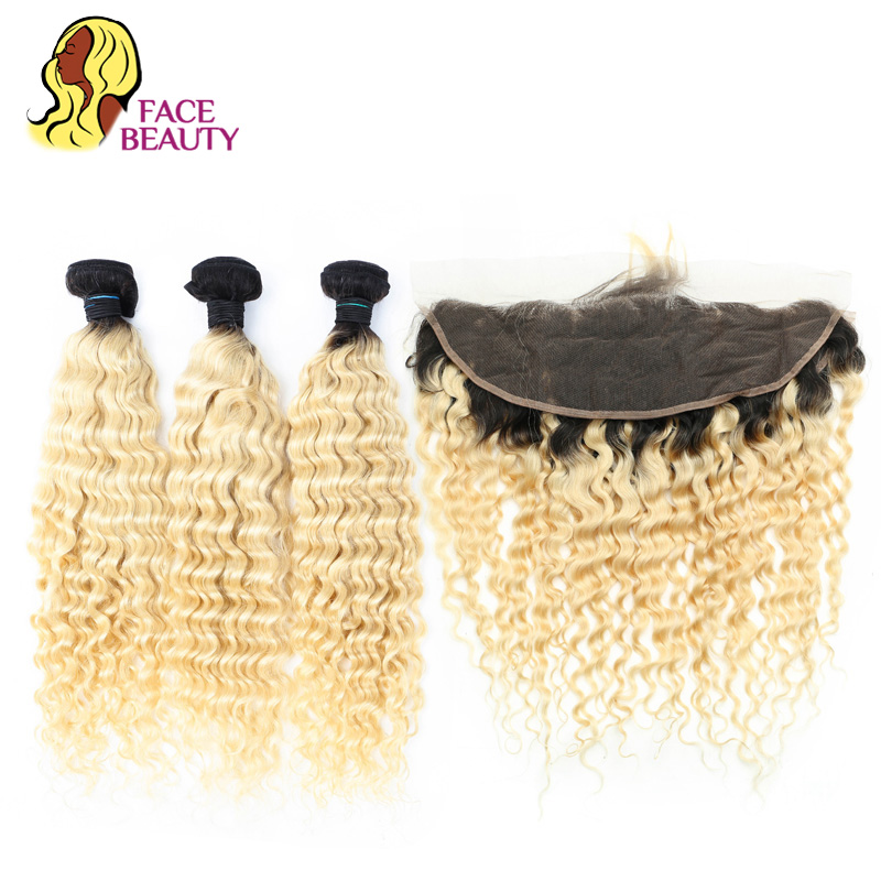 Facebeauty 1B 613 Blonde Ombre Remy Weft Brazilian Curly Hair 2 3 4 Bundles with Closure