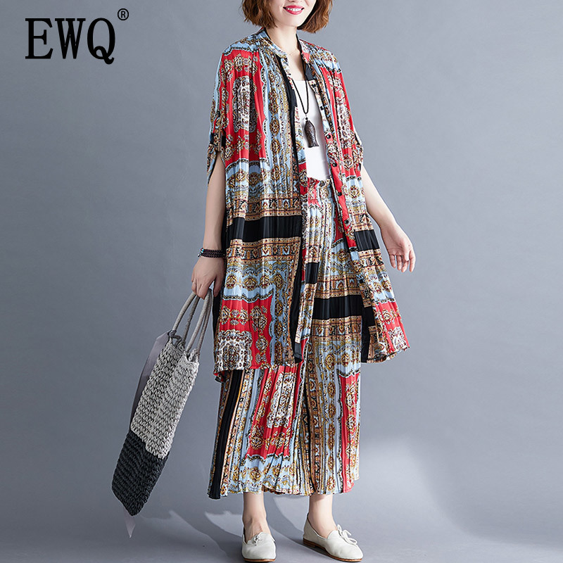 EWQ 2019 Spring Summer New Pattern Laple Long Sleeve Print Patchwork Single Breasted Two Piece