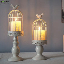 Metal Bird Cage Candle Holders Wedding Candlestick Cages Moroccan Lamp Candle Holder White for Home Decoration Candelabra GZT015(China)
