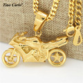 Tino Carlo Stainless Steel  Gold Plated 3D Solid Motorcycle Street Bike Pendant Hiphop Cool Necklace Men's Racing Necklace