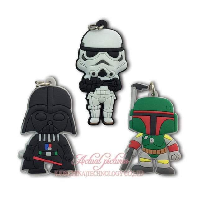 570fd7d95 3 pcs Legal Star Wars Figura Dos Desenhos Animados Kid Acessórios Apto para  Chaveiros PVC Macio