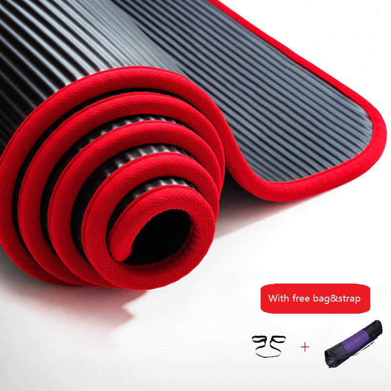 10mm Thickened Non-slip NBR Yoga Mat Fitness Exercise Sports Gym Pilates Mat Tear Resistant With Yoga Mat Bag and Strap 183x61cm