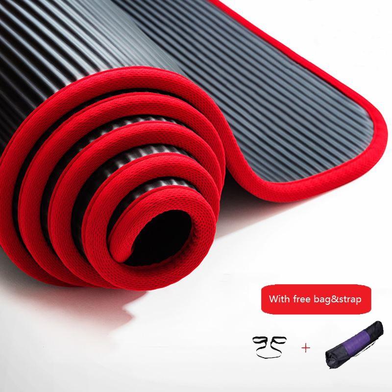 10mm Verdikte Antislip Nbr Yoga Mat Fitness Oefening Sport Gym Pilates Mat Scheurbestendig Met Yoga Mat Tas En Riem 183x61 Cm Elegant In Stijl