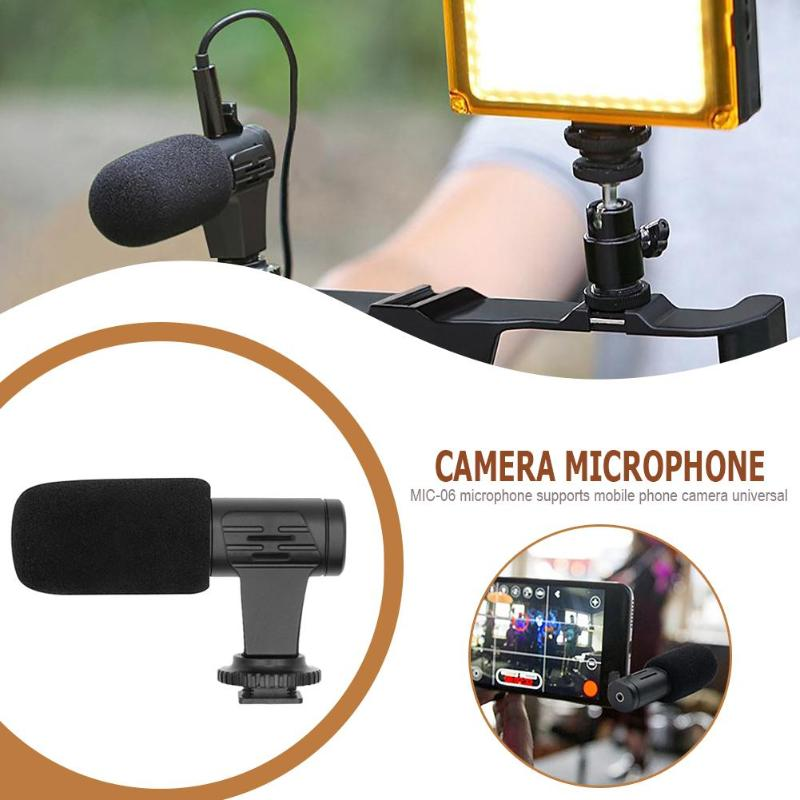 MIC-06 Camera External Stereo Mobile Phone Microphone Video Recording Mic Portable Handheld Microphones For Report Conference