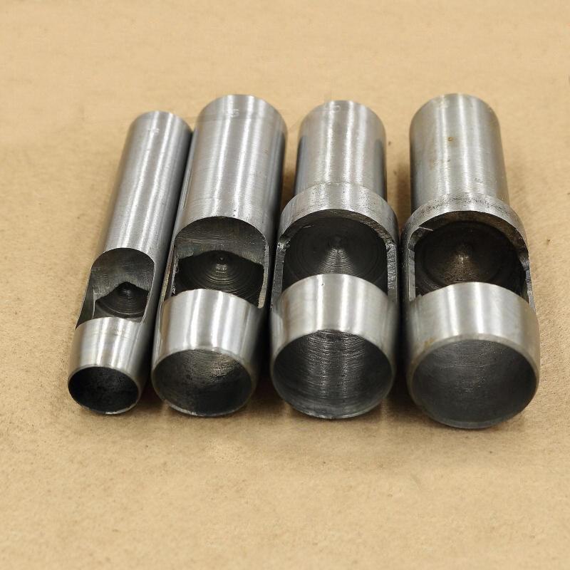 4 pièces outils en cuir poinçon en cuir artisanat trou artisanat Set creux perforateur ceinture poinçon 15mm-30mm pour vêtements toile