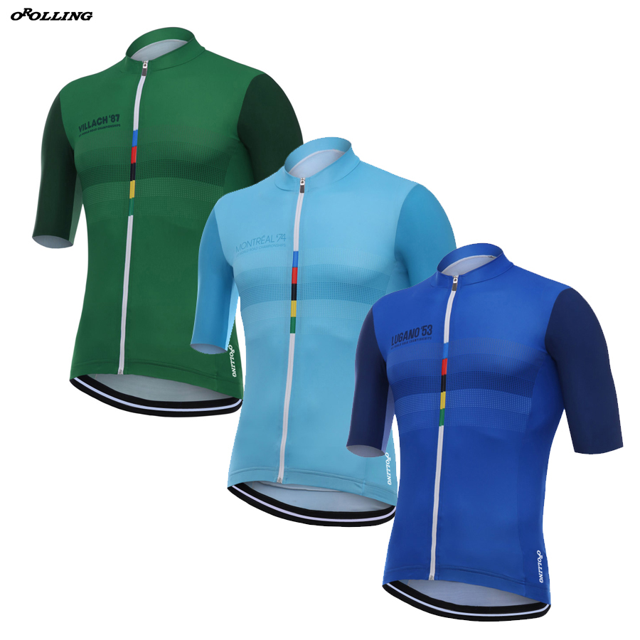 35f9abb6688 3 TYPES New Classical 2018 CHAMPION Pro Team Maillot Cycling Jersey  Customized Orolling Tops