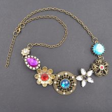 Bohemia Retro Crystal Multiple Flower Necklace Long Gold Chain Necklaces Womens Accessoires Girls Jewelry choker