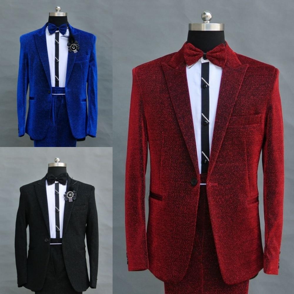 2017 Service rouge Chanteur Nouveau Costume De Paillettes gris Mâle Hommes Robe Stade Performance Hôte Bleu Costumes RqxRBpa