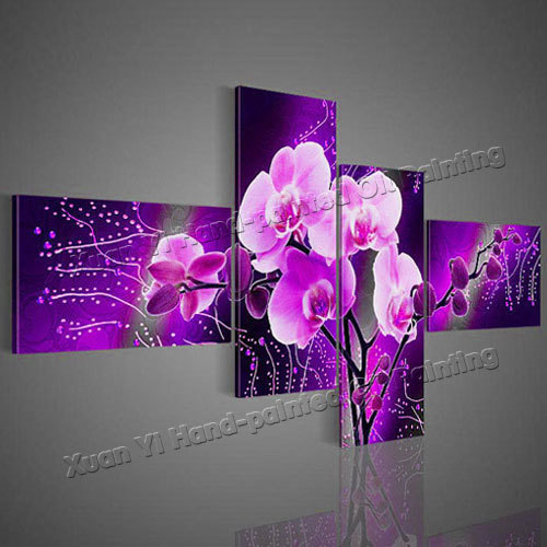 4 Panel Purple Flower Oil Painting Canvas Wall Art Cuadros