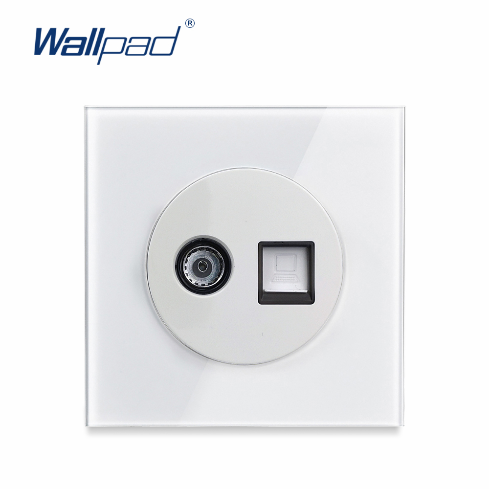 L6 White Glass TV Television Internet PC Data Jack CAT6 Wall Socket Tempered Glass Wiring Accessories Outlet