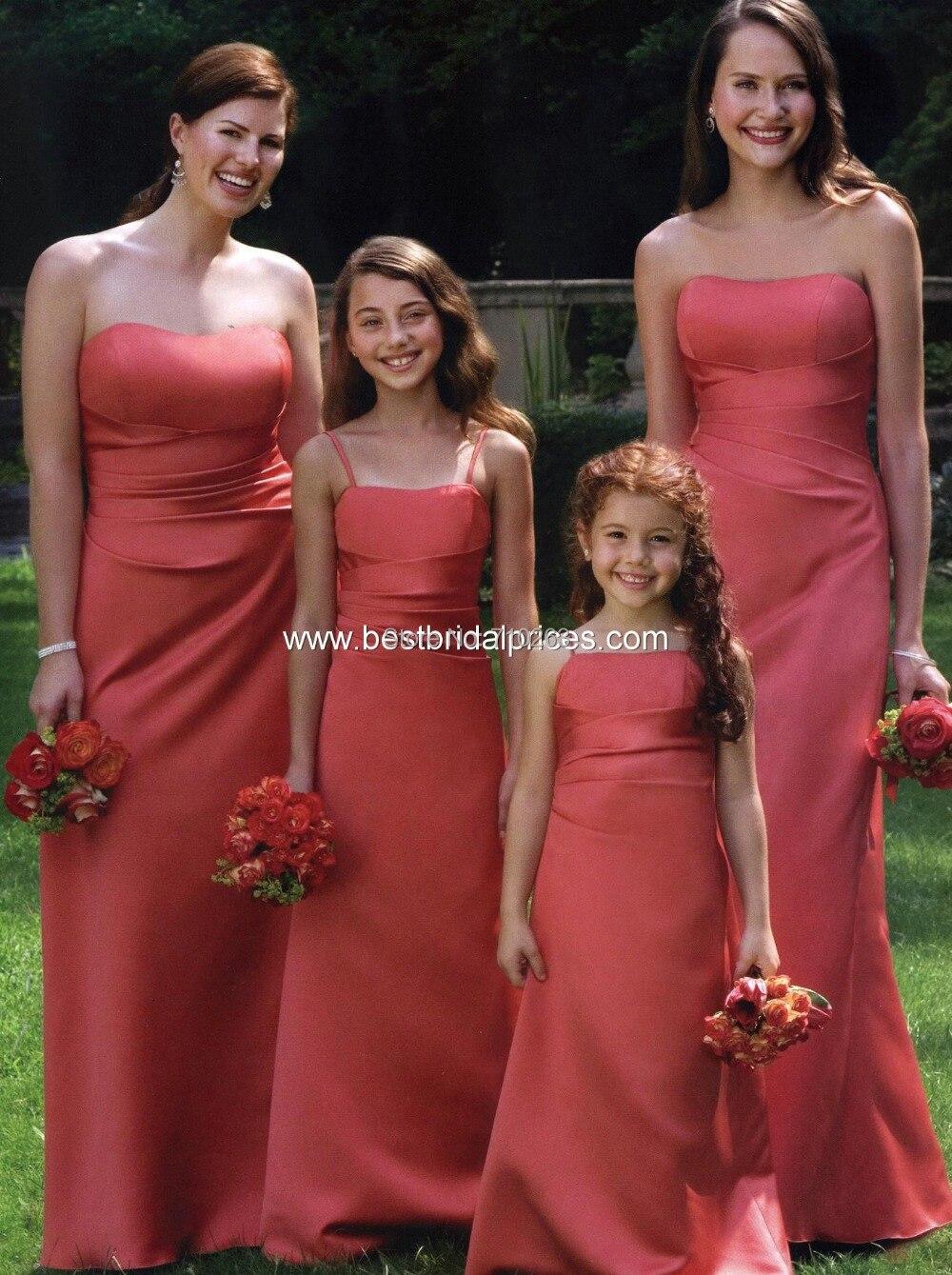 2014 New Sheath Strapless Sleeveless Floor Length Satin Bridesmaid Dresses with Ruffles KM-286 Custom Size 2 4 6 8 10 12 14 16