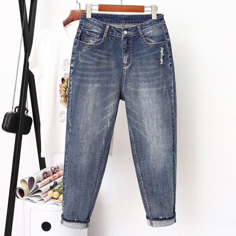 Plus Size 4XL 5XL Denim Blue High Waist Women   Jeans   Casual Ladies   Jeans   Harem Pants Women Ripped Boyfriend   Jeans   For Women C5514