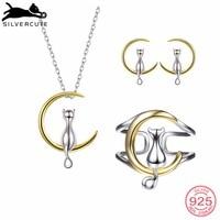 SILVERCUTE 925 Sterling Silver Jewelry Sets Women Two Tone Gold & Silver Cat on the Moon Necklace Earrings Ring Set SCPER6010BK