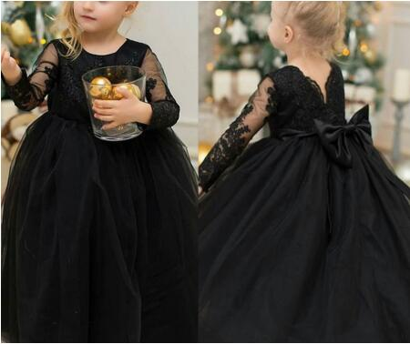 New Black Tulle Flower Girl Dress Lovely Princess Dress With Illusion Long Sleeves Big Bow Any Size And Any Color New Arrivals