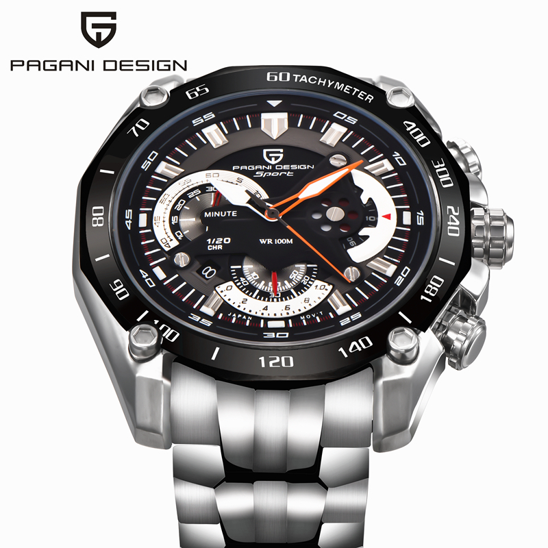 PAGANI DESIGN Luxury Chronograph Stainless Steel Wrist font b Watch b font Fashion Clock Dive 30M