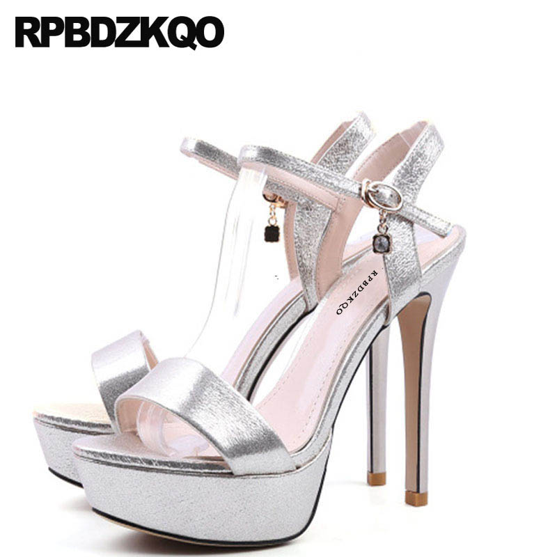 Summer Silver Diamond Stiletto Crystal High Heels Fetish Strap Wedding Women Wedge Platform Sandals Shoes Rhinestone Pumps hot sale 2018 new fashion wedge gladiator platform sandals women flower rhinestone summer pumps crystal wedding high heels shoes