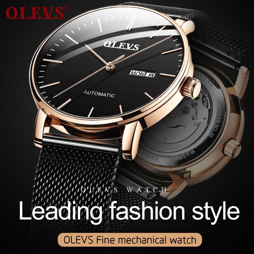 Olevs 미니멀리스트 패션 남자 시계 자동 기계 울트라 얇은 메쉬 스트랩 서브 다이얼 탑 브랜드 럭셔리 로즈 골드 손목 시계-에서기계식 시계부터 시계 의  그룹 1
