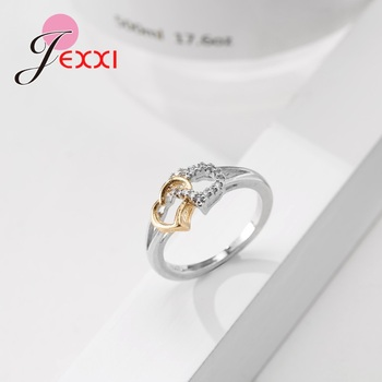 Female Heart with Heart Shaped Romantic Pure 925 Silver Rings With Cubic Zirconia Women Bridal Wedding Bague Bijoux 2