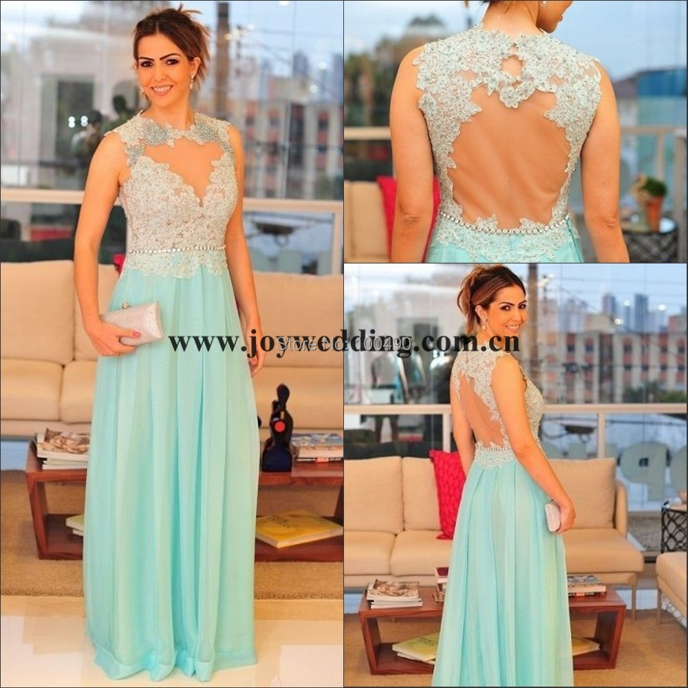 2014 Real Samples Coral Blue Open Back See Through Plus Size Lace