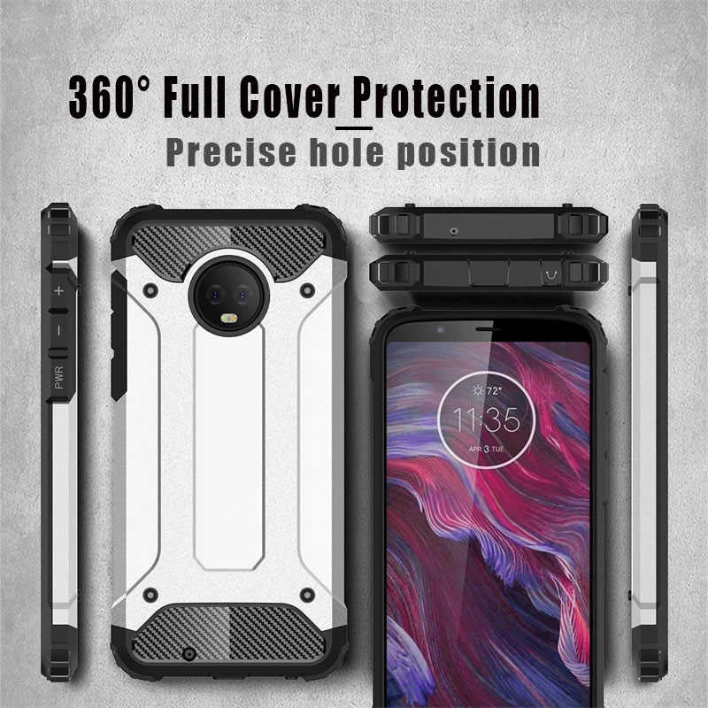 best service 0102d 67f3a For Motorola Moto One Power Case Silicone+PC Hybrid Back Cover Accessories  Armor Coque Fundas Case On Moto G7 G6 E5 Plus Play