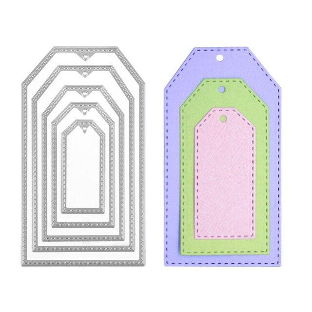 5 יח'\סט תווית מסגרת מתכת חיתוך מת חג המולד תג שבלונות עבור DIY רעיונות אלבום תמונות נייר כרטיסי הבלטות קרפט למות
