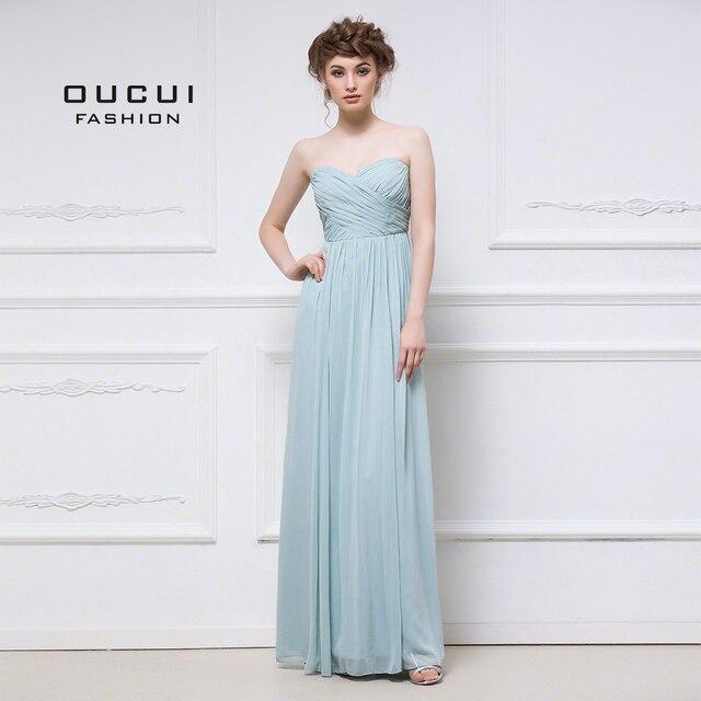 アクア上品なシフォンのイブニングドレスのウェディングパーティードレスエレガントな 2019 恋人花嫁介添人ドレスプリーツプラスサイズ vestido OL103056