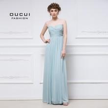 Aqua Classy Chiffon Abendkleider Hochzeit Party Elegante 2019 Schatz Brautjungfer Kleid Falten Plus Größe Vestido OL103056