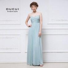 Aqua eleganckie szyfonowe suknie wieczorowe wesele eleganckie 2019 Sweetheart druhna sukienka zakładki Plus rozmiar Vestido OL103056