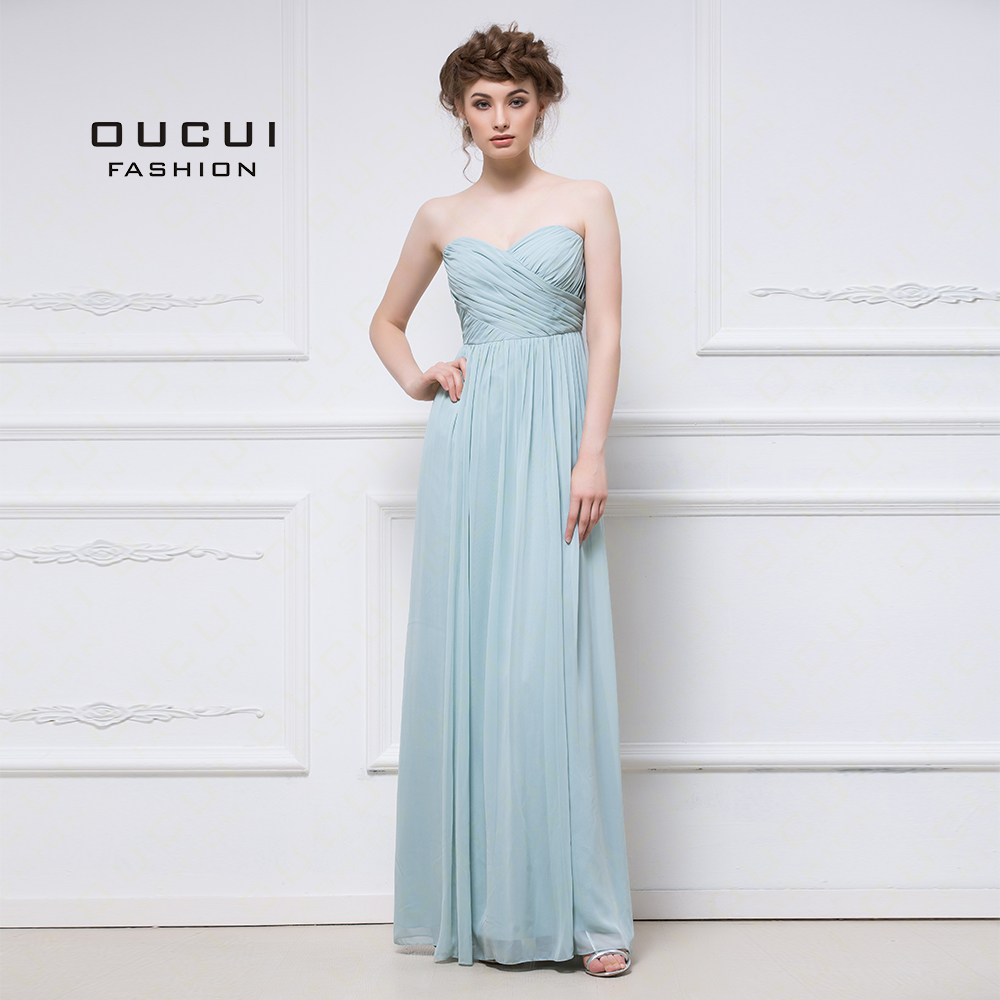 New Aqua Classy Chiffon   Dress   For Wedding Party Elegant 2019   Bridesmaid     Dresses   Sweetheart Pleats Plus Size Vestido OL103056