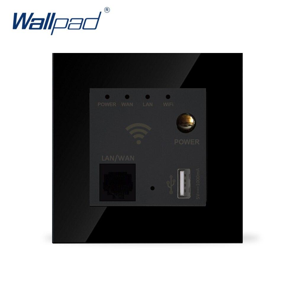 Wifi répéteur routeur Wallpad luxe verre cristal noir 86*86mm 110 V-240 V montage mural routeur Wifi répéteur USB chargeur