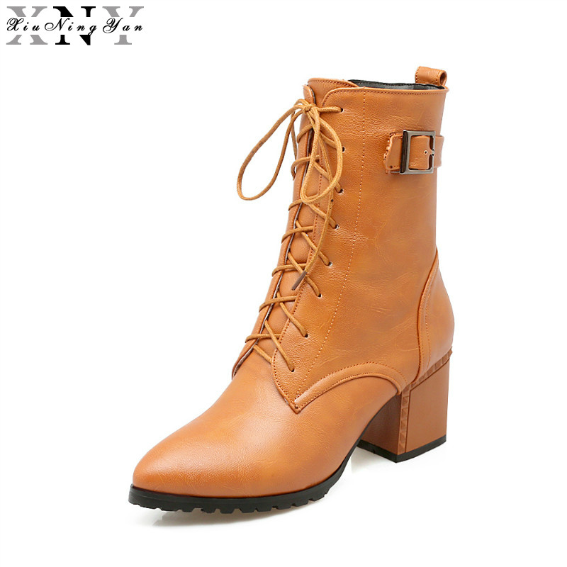 XiuNingYan 2017 Autumn Winter Women Ankle Boots High Heels Sexy Leather Buckle Platform Short Booties Fashion Plus Size 32-46 стоимость