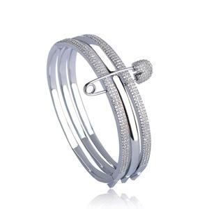 Image 2 - MECHOSEN Unique Design 3 Round With Pins Bangles For Women White Rose Gold Color Love Cuff Bracelet Copper Pulseira Feminina