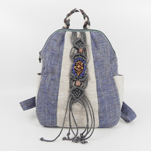 Fashion Featured Ethnic Women Linen Backpack National Style Vintage Wax Thread Hand-knitted Bagpack Handmade Girl Travel 019 Bag