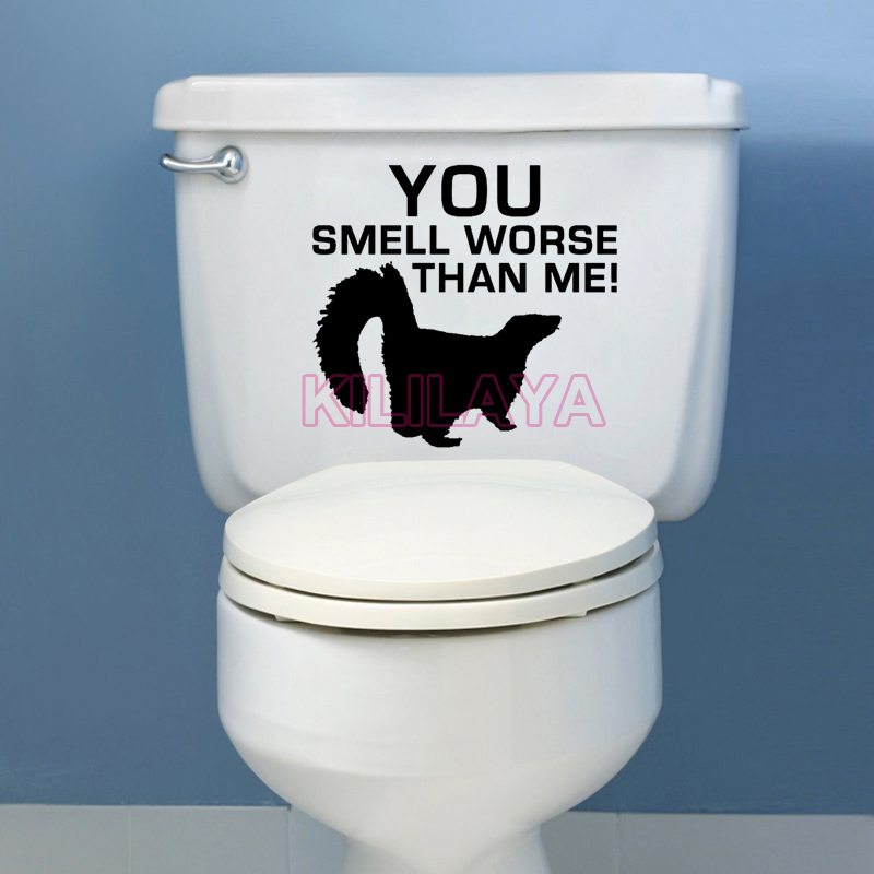 Funny toilet stickers weasel you smell worse than me vinyl - Stickers deco wc ...