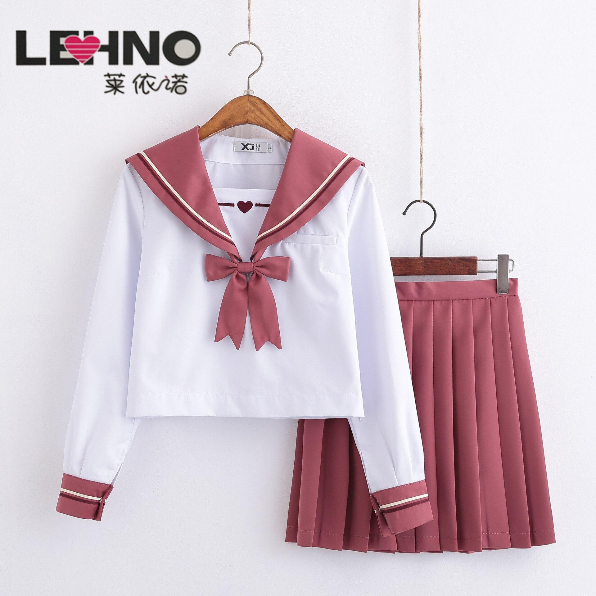 Costume de marin rose uniforme d'école japonaise JK costume à manches longues